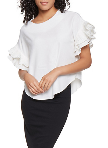 Pleated Tiered Sleeve Blouse,IVORY,large