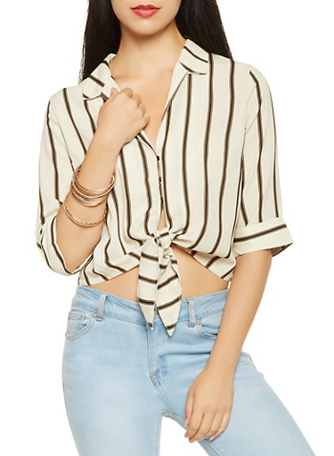Striped Tie Front Shirt,WHT-BLK,large