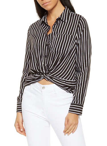 Striped Twist Front Shirt,BLACK/WHITE,large