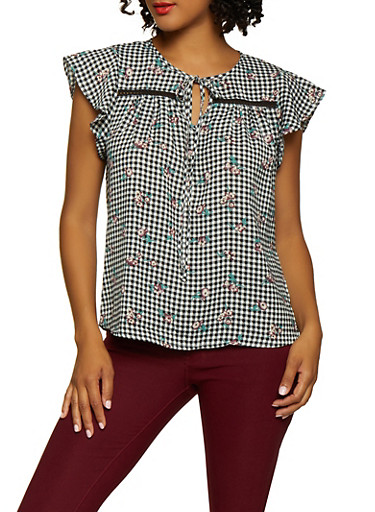 Checkered Floral Tie Neck Top,WHITE,large