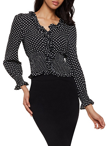 Polka Dot Ruffled Top,BLACK/WHITE,large