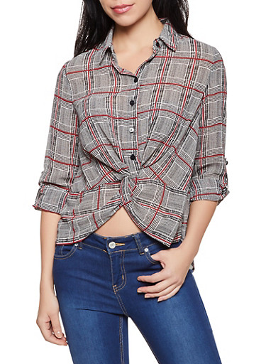 Plaid Twist Front Crepe Knit Shirt,RED,large