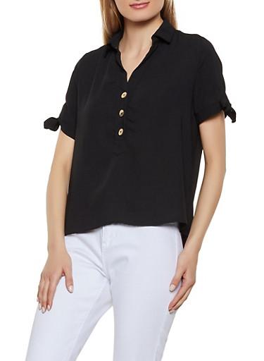 Half Button Tie Sleeve Top,BLACK,large