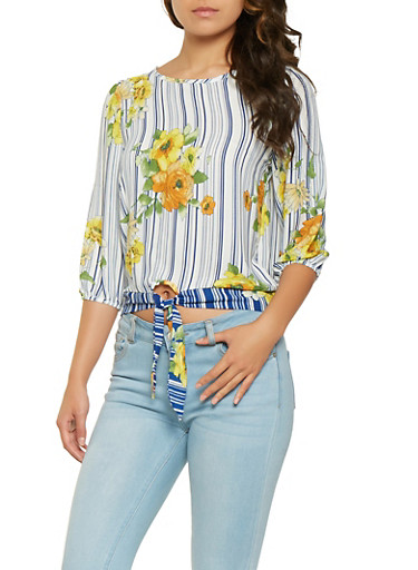 Printed Tie Front Blouse,NAVY,large