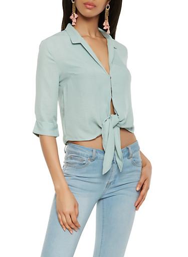 Snap Button Tie Front Blouse,SAGE,large