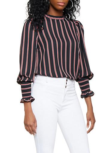 Striped Smocked Sleeve Blouse,BLACK,large