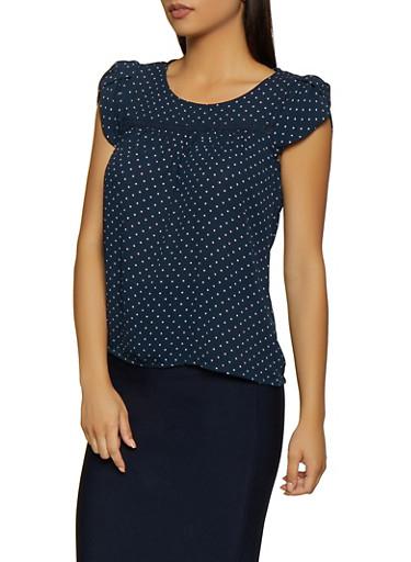 Polka Dot Crochet Detail Top,NAVY,large