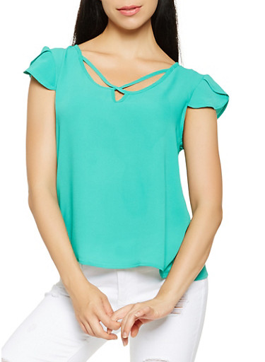 Crepe Knit Tulip Sleeve Top,GREEN,large