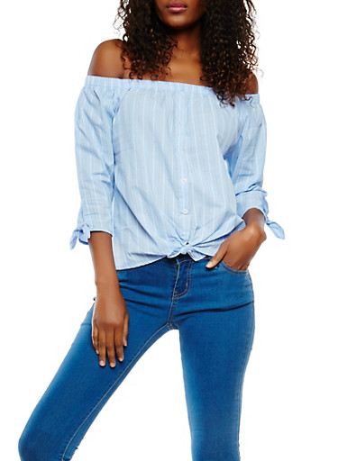 Off the Shoulder Striped Top,BABY BLUE,large