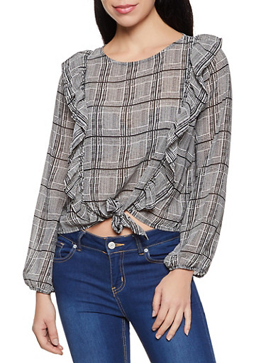 Plaid Ruffled Tie Front Blouse,BLACK,large