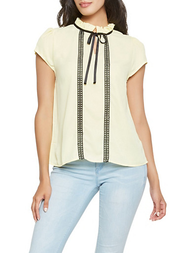 Crochet Trim Tie Neck Blouse | Tuggl