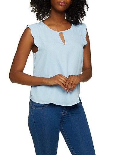 Scalloped Cap Sleeve Blouse,BLUE,large