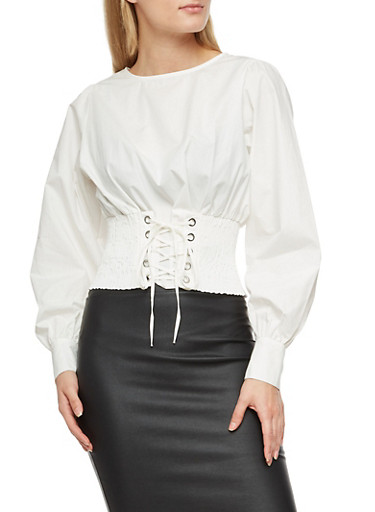 Smocked Corset  Lace Up Waist Top,WHITE,large