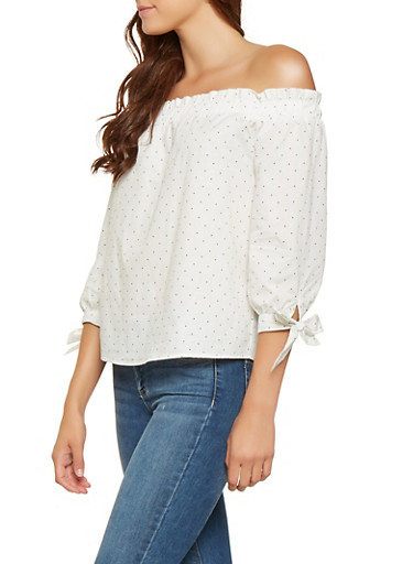 Polka Dot Off the Shoulder Top,WHITE,large