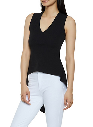 Sleeveless Textured Knit High Low Top,BLACK,large