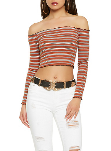 Striped Rib Knit Off the Shoulder Top,RUST,large