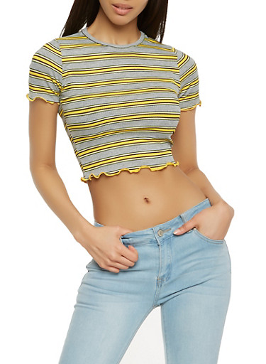 Striped Lettuce Trim Top,YELLOW,large