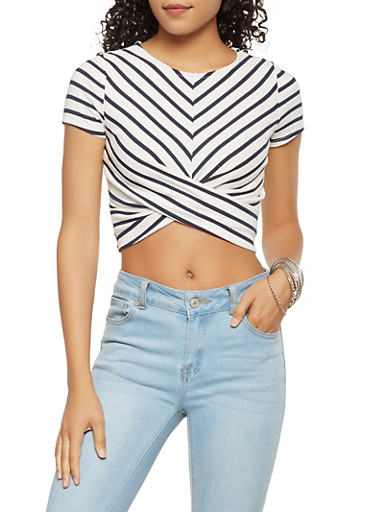 Striped Twist Front Crop Top,NAVY,large