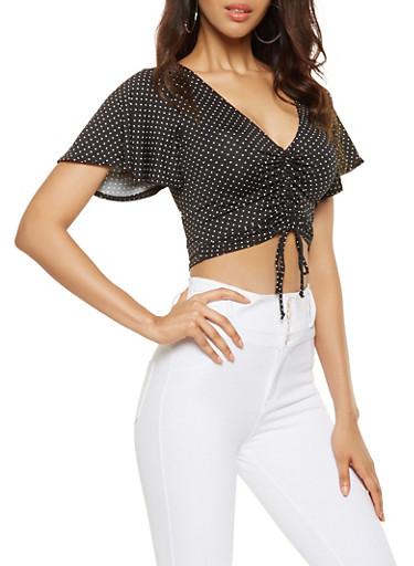 Polka Dot Ruched Crop Top,BLACK/WHITE,large