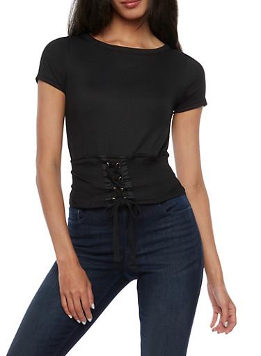 Short Sleeve Lace Up Waist Top,BLACK,large