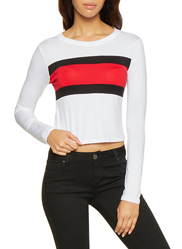 Color Block Long Sleeve Tee,WHITE,large