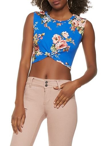 Sleeveless Floral Crop Top,BABY BLUE,large