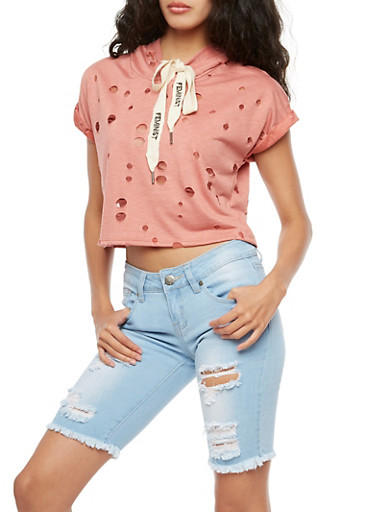 Short Sleeve Ripped Cropped Hoodie,MAUVE,large