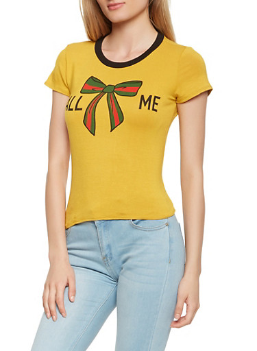 Call Me Graphic Tee,MUSTARD,large