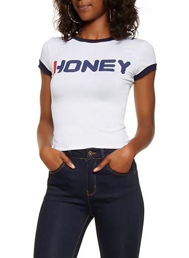 Honey Graphic Tee,WHITE,large