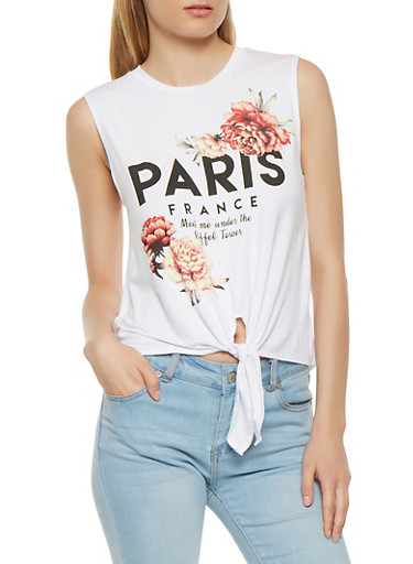 Paris Graphic Tie Front Tank Top,WHITE,large