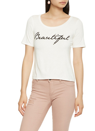 Faux Pearl Studded Graphic Tee,IVORY,large