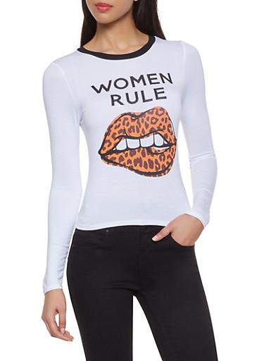 Women Rule Contrast Trim Tee,WHITE,large