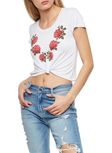 Rose Graphic Tie Front Crop Top,WHITE,large