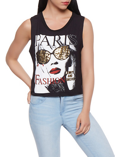Fashion Graphic Tank Top,BLACK,large