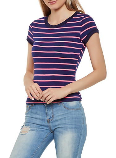 Striped Soft Knit Tee   3402061357775,NEON PINK,large