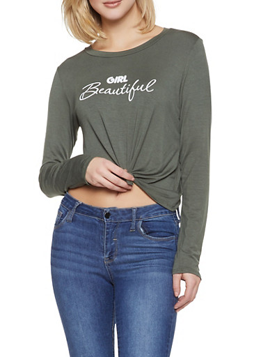 Girl Beautiful Tie Front Tee,OLIVE,large