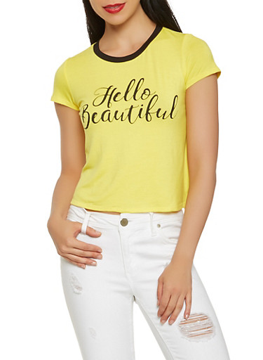 Hello Beautiful Graphic Tee,YELLOW,large