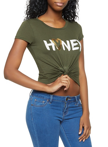 Honey Graphic Knot Front Tee,OLIVE,large