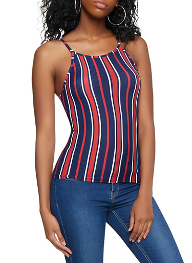 Striped Soft Knit Cami,WINE,large
