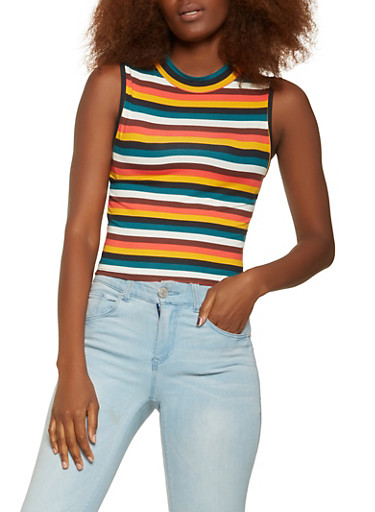 Striped Soft Knit Tank Top,MULTI COLOR,large