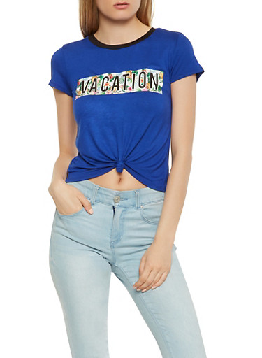 Vacation Graphic Tie Front Tee,NAVY,large