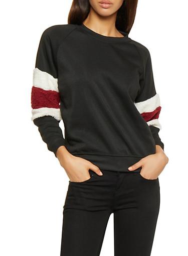 Striped Sherpa Trim Sweatshirt,BLACK,large
