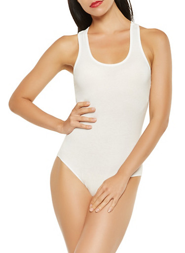 Solid Racerback Bodysuit,WHITE,large