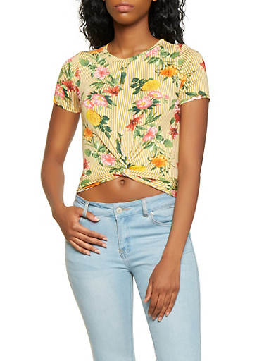 Striped Floral Twist Front Tee,MUSTARD,large