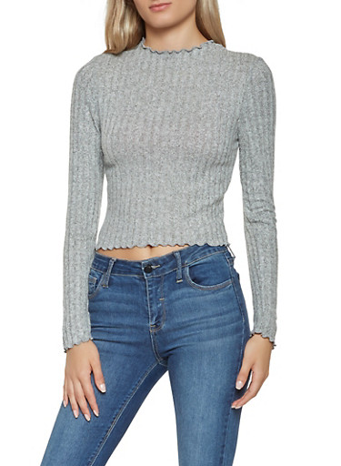Ribbed Knit Lettuce Edge Top,HEATHER,large