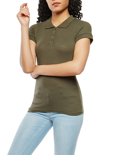 Short Sleeve Polo Shirt,OLIVE,large