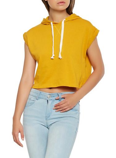 Fixed Cuff Hooded Sweatshirt,MUSTARD,large