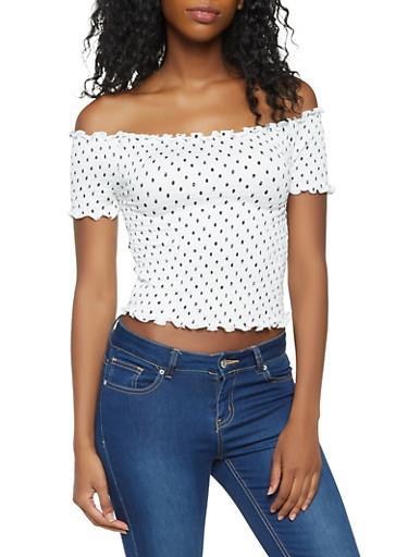 Polka Dot Off the Shoulder Top,WHITE,large