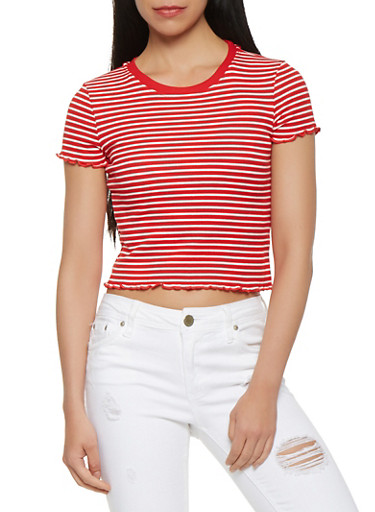 Striped Lettuce Trim Tee,RED,large