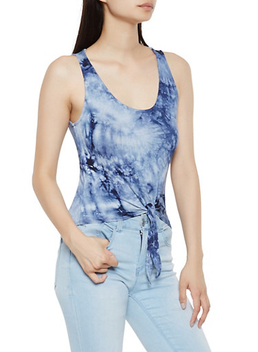 Tie Front Tie Dye Tank Top,NAVY,large